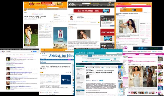 Top Cast PR Newswire na Mídia com Juliana Paes no topo do Ranking de Celebridades em 2012.