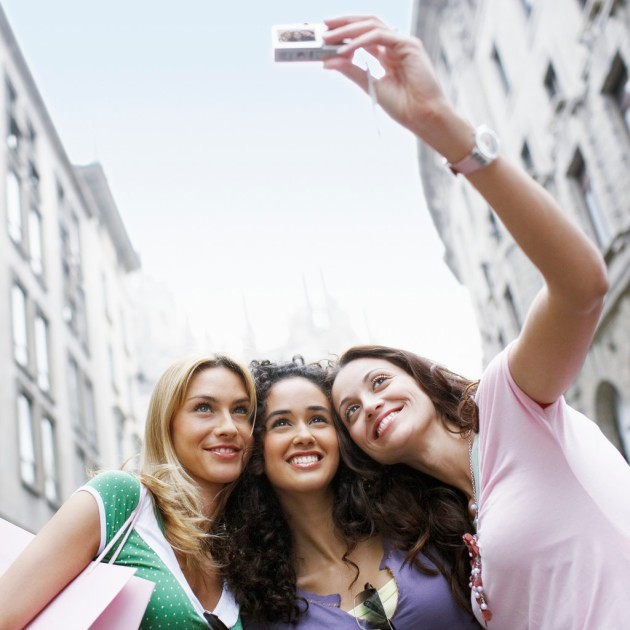Young Girls Taking a Picture
