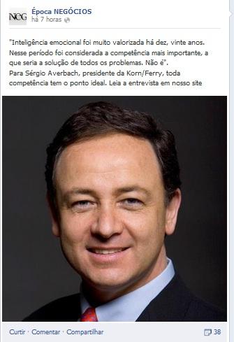 Print de post da página da Revista Época Negócios no FB: notícia sem link é decisão das organizações Globo